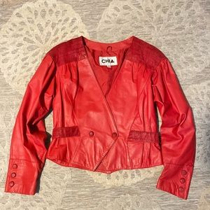 Vintage Red Leather Chia Jacket